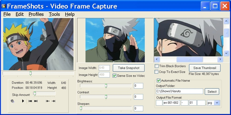 Capture image from video. FrameShots takes snapshots of video files like MPEG/AVI/WMV/DivX to create high-quality thumbnails. Navigate frame by frame to capture a image from video and save all your video stills. Batch process your video thumbnails.